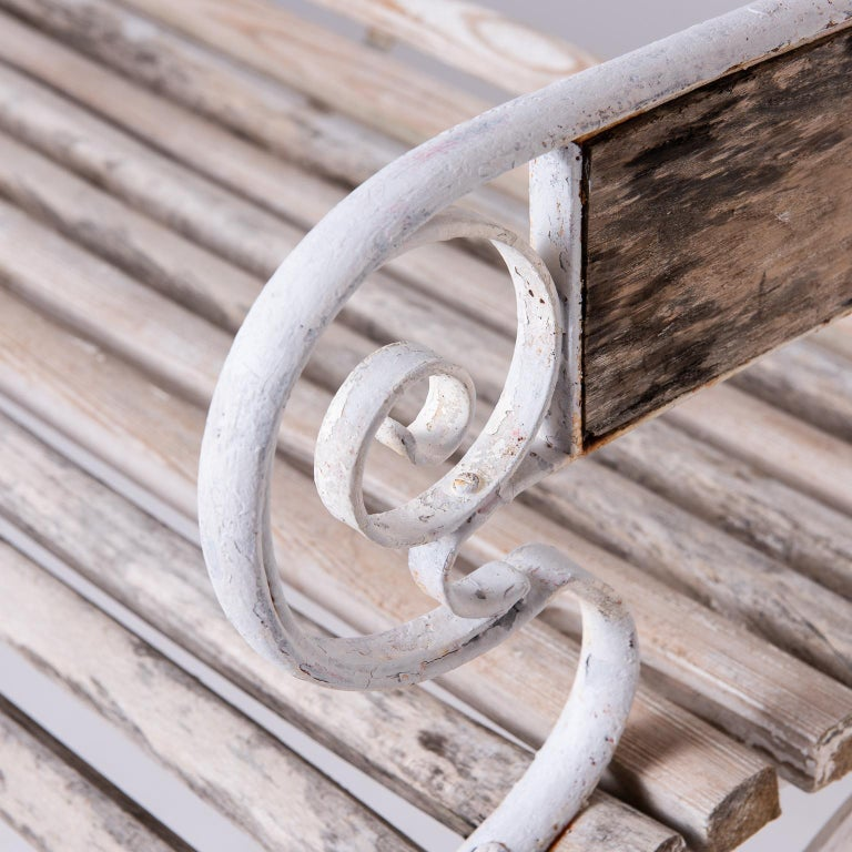 French Wood and Wrought Iron Garden Bench, circa 1900 For Sale 1