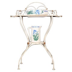 French Wrought Iron and Painted Washstand with Jug and Bowl