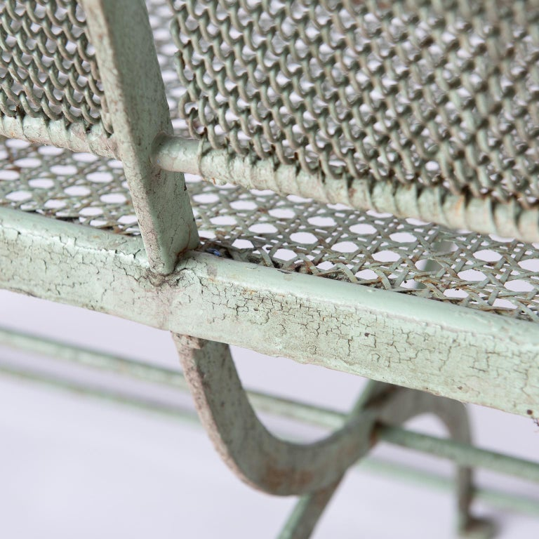 French Wrought Iron Garden Bench with Old Green Paint, circa 1920 For Sale 5