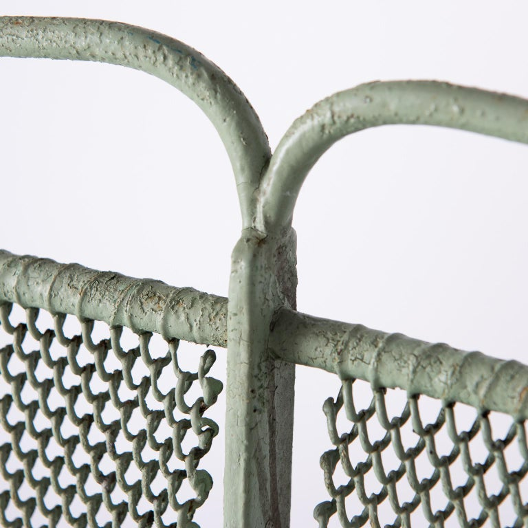 Art Deco French Wrought Iron Garden Bench with Old Green Paint, circa 1920 For Sale