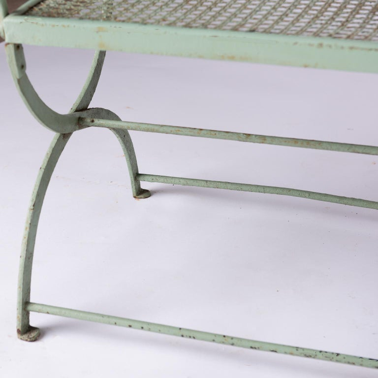 20th Century French Wrought Iron Garden Bench with Old Green Paint, circa 1920 For Sale