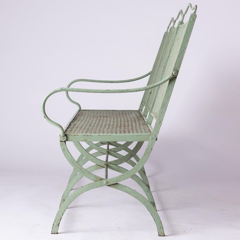 French Wrought Iron Garden Bench with Old Green Paint, circa 1920 For Sale 1