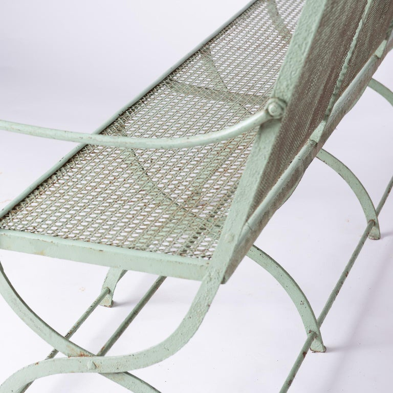 French Wrought Iron Garden Bench with Old Green Paint, circa 1920 For Sale 2