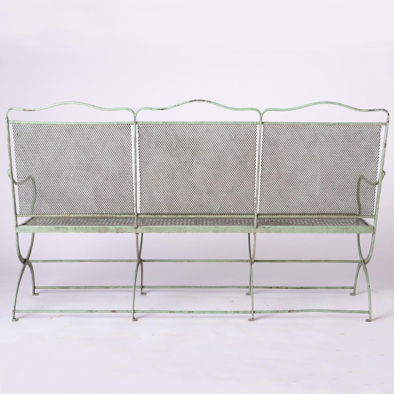French Wrought Iron Garden Bench with Old Green Paint, circa 1920 For Sale 4