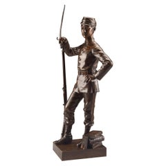 A. Frette, a Bronze Well Detailed Statue of a Young French Soldier, 1887
