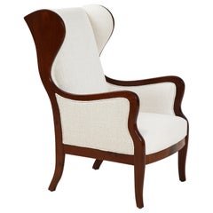 Frits Henningsen Mahogany and Upholstered Wing Chair, Circa 1940-50