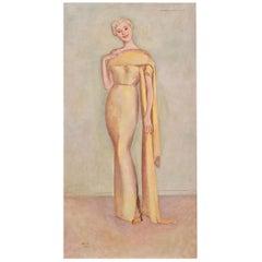 Full Length Portrait of Artists Wife Tatiana, Einar Jolin, 1890-1976