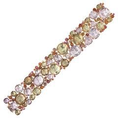 A & Furst 18 Karat RG Bracelet, 159 Carat Semi Precious, Sapphires and Diamonds