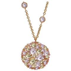 A & Furst 18 Karat Gold Sapphire and Semi Precious Bouquet Pendant and Chain