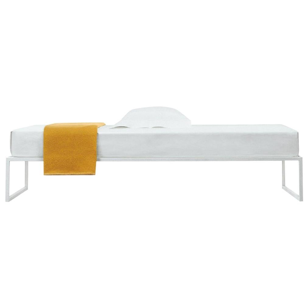 A. G. Fronzoni Medium Fronzoni '64 Bed in White Metal & Wood for Cappellini