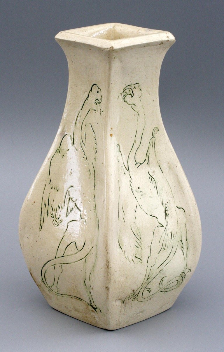 Arts and Crafts A G Sangwell Martin Brothers Pottery Grotesque Dragons Tribute Art Pottery Vase For Sale