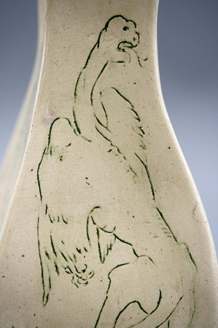 A G Sangwell Martin Brothers Pottery Grotesque Dragons Tribute Art Pottery Vase For Sale 2