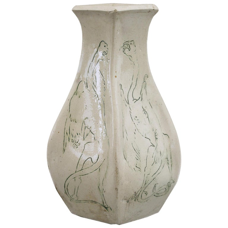 A G Sangwell Martin Brothers Pottery Grotesque Dragons Tribute Art Pottery Vase For Sale