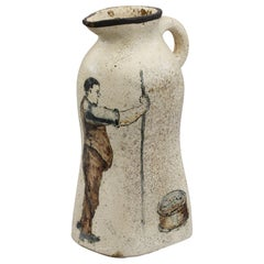 A G Sangwell Martin Brothers Pottery Tribute Painted Art Pottery Jug, Dated 1929