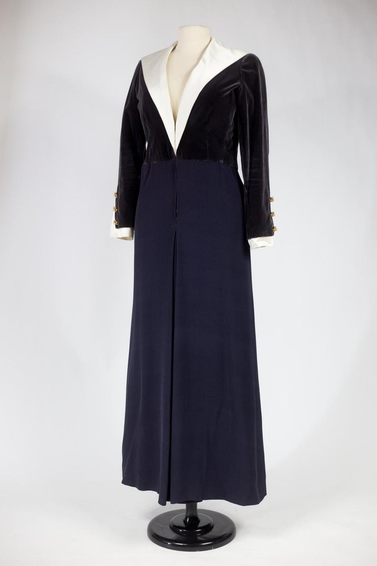 A Gabrielle Chanel Haute Couture Evening Navy Dress Numbered 42506 Circa 1955 For Sale 3