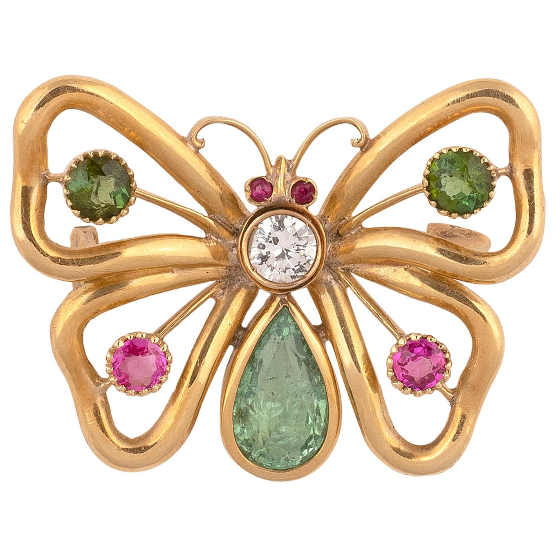 Gem-Set Butterfly Diamond Peridot and Ruby Brooch