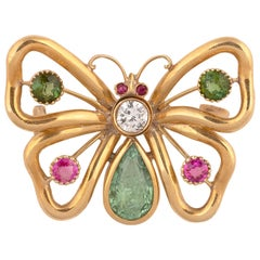 Gem-Set Butterfly Diamond Peridot and Ruby Brooch
