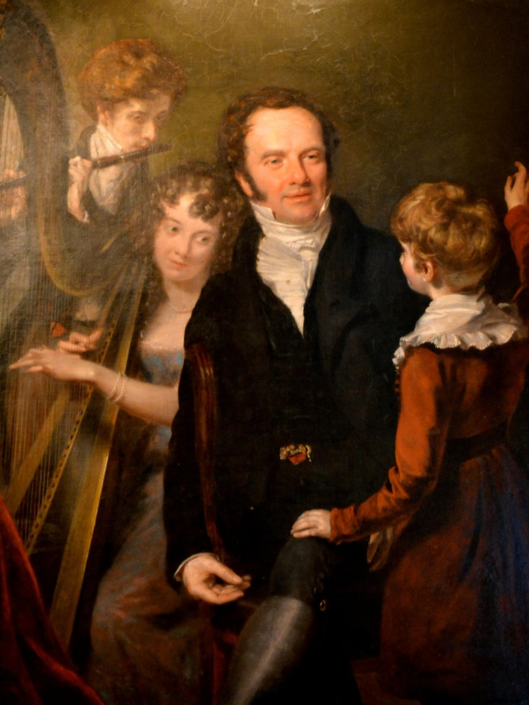 Painted Gentleman with his Three Children by 18th Century English Artist John Opie For Sale