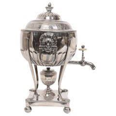 Geo III Silver Hot Water Tea Kettle/Urn on Stand, circa 1808 by Thos Watson & Co