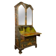 George I Green Japaned and Parcel Gilt Lacquer Bureau, 18th C