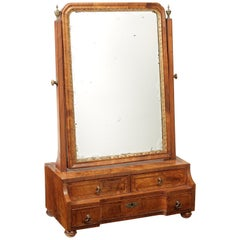 George I Walnut, Crossbanded and Feather Banded Cheval Dressing Mirror