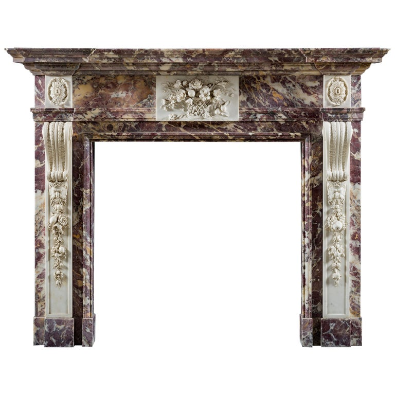 George II Palladian Fireplace in Breccia Violette and Statuary Marble For Sale