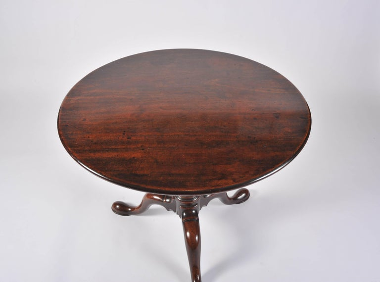 18th Century George II Period Mahogany Tripod Table with Gun Barrel Stem For Sale