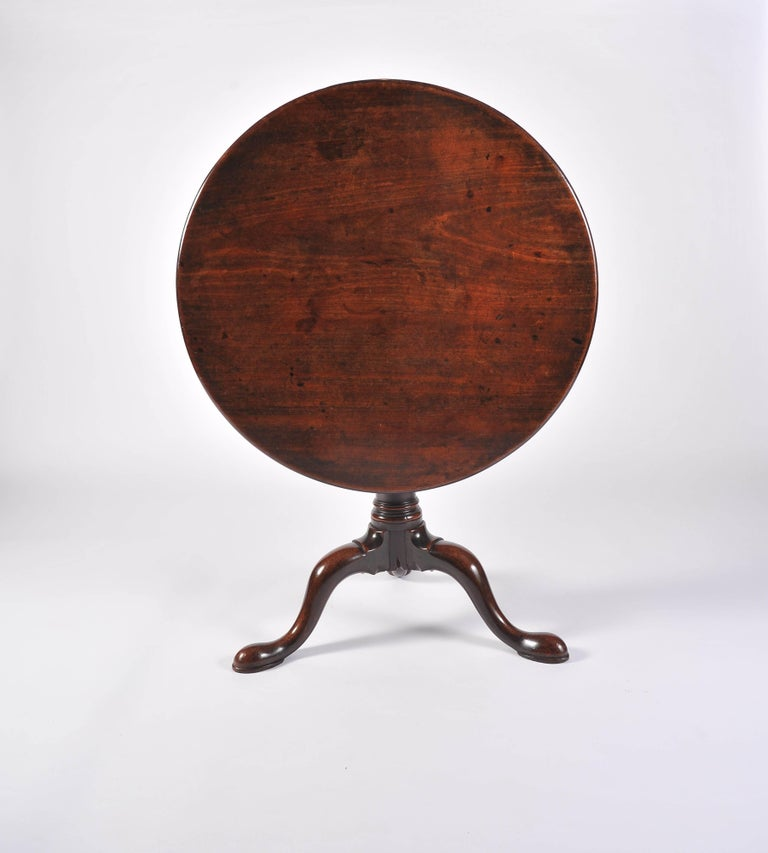 George II Period Mahogany Tripod Table with Gun Barrel Stem For Sale 1