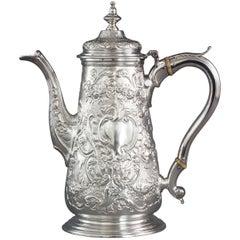 George II Silver Coffee Pot, Ayme Videau, London, 1751