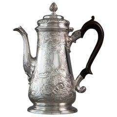 George II Silver Coffee Pot London 1743, Gabriel Sleath