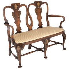 George II Walnut Two Chair Back Settee