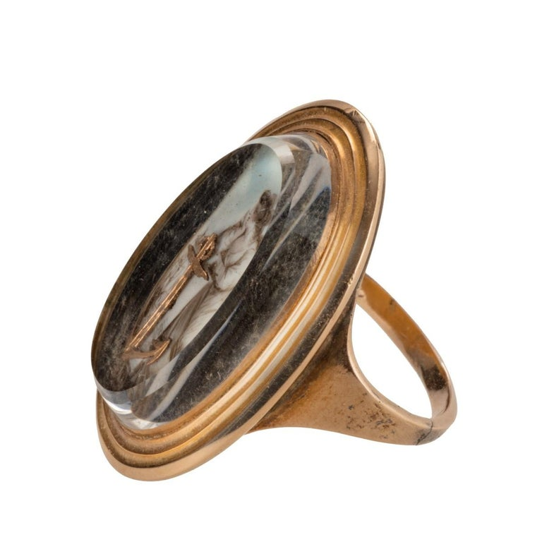 English George III Gold Ring Depicting 'Hope' For Sale