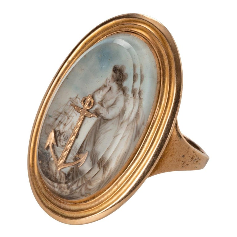 George III Gold Ring Depicting 'Hope' For Sale