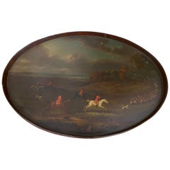 George III Mahogany Tray Painted with a Hunting Scene by John Nost Sartorius