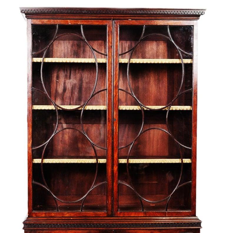 English George III Mahogany Two-Door Bookcase For Sale