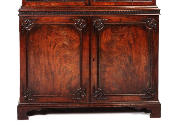 George III Mahogany Two-Door Bookcase In Good Condition For Sale In Dublin, GB