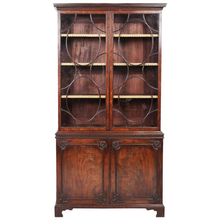 George III Mahogany Two-Door Bookcase For Sale