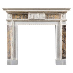 George III Neoclassical Chimneypiece in Statuary and Siena Marbles
