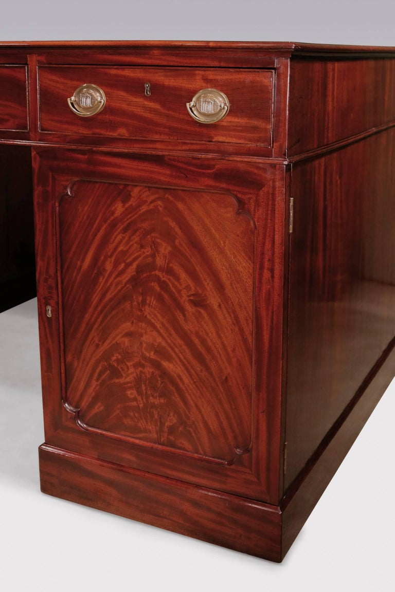 Polished George III Period Mahogany Library Partner's Desk with Green Leather Top For Sale