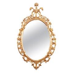 George III Rococo Water Gilt Oval Mirror