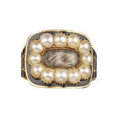 George III Seed Pearl-Set Gold Mourning Ring