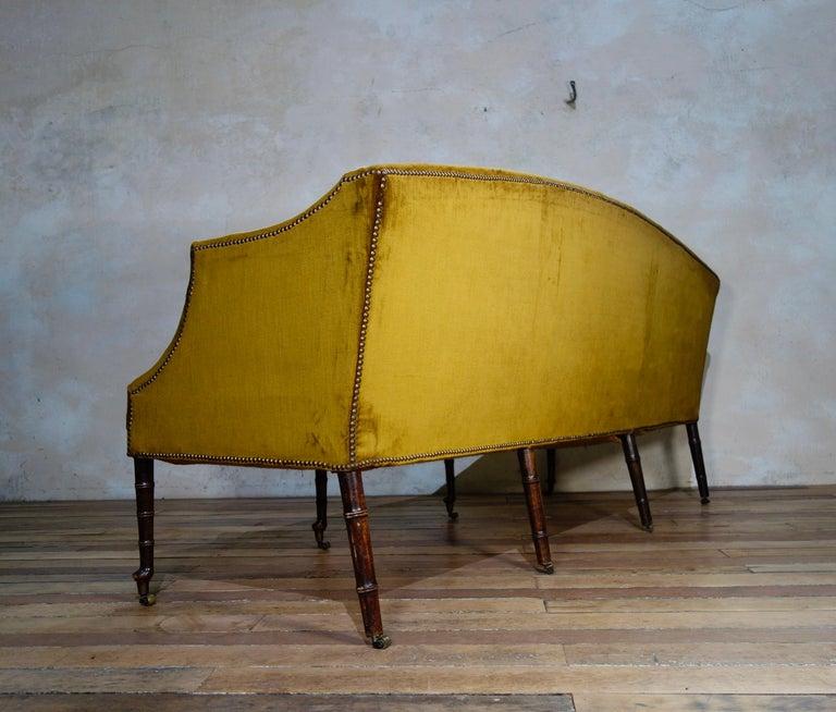 A George III Settee, Sofa Faux Bamboo Mahogany Legs Yellow - Georgian For Sale 6