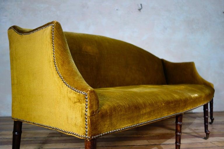 A George III Settee, Sofa Faux Bamboo Mahogany Legs Yellow - Georgian For Sale 8