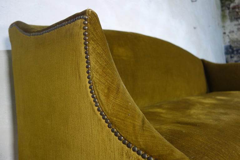 A George III Settee, Sofa Faux Bamboo Mahogany Legs Yellow - Georgian In Good Condition For Sale In Basingstoke, Hampshire