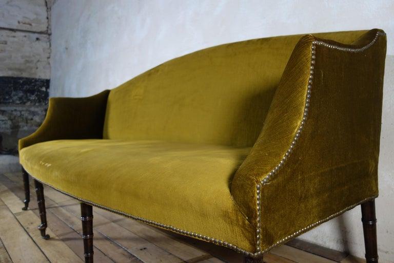 19th Century A George III Settee, Sofa Faux Bamboo Mahogany Legs Yellow - Georgian For Sale