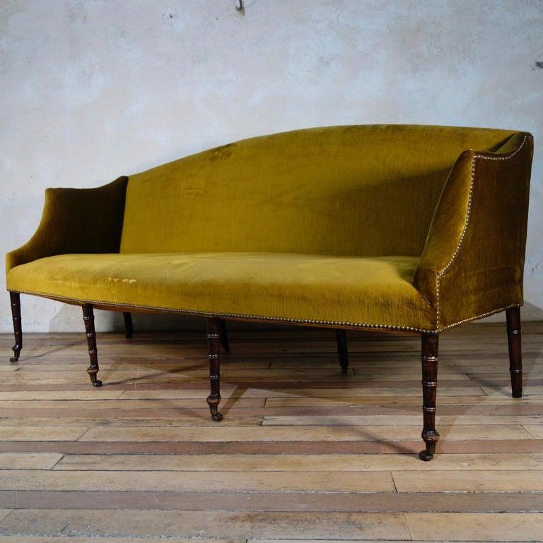 A George III Settee, Sofa Faux Bamboo Mahogany Legs Yellow - Georgian For Sale 1