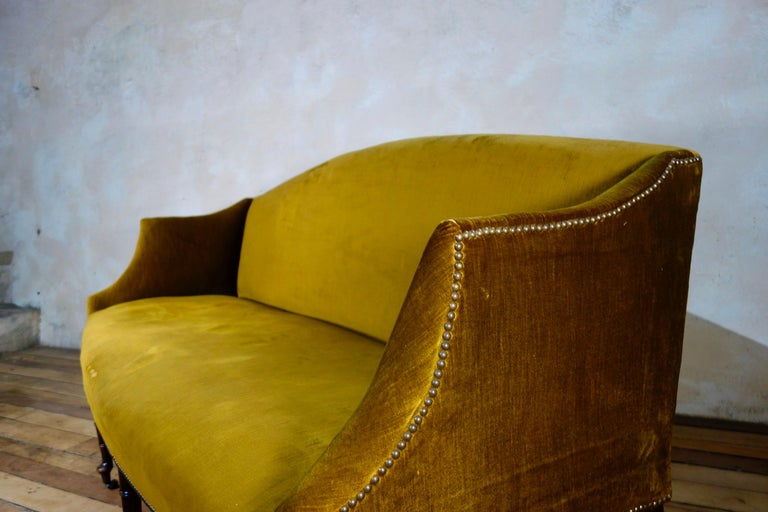 A George III Settee, Sofa Faux Bamboo Mahogany Legs Yellow - Georgian For Sale 3