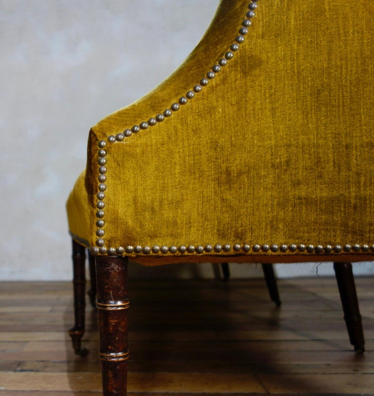 A George III Settee, Sofa Faux Bamboo Mahogany Legs Yellow - Georgian For Sale 5