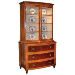 George III Style Satinwood and Harewood Display Bookcase