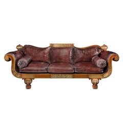 George IV Brass Inlaid Rosewood Country House Three-Seat Sofa